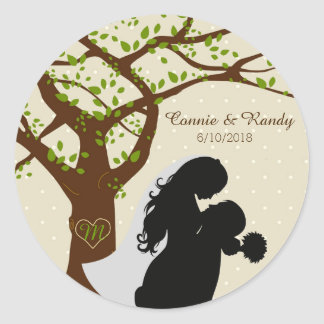 Bride and Groom Silhouette Oak Tree Sticker