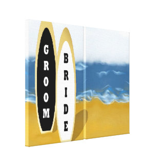 Bride and Groom Surf Boards Wrapped Canvas Art Stretched Canvas Prints