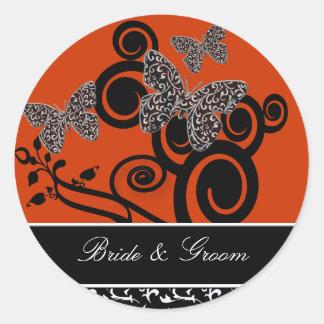 Bride and Groom Swirl & Butterfly Sticker