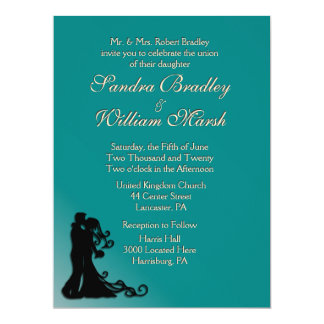Bride and Groom Teal 17 Cm X 22 Cm Invitation Card