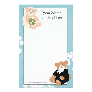 Bride and Groom Teddy Bears Stationery