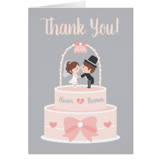 Bride and Groom Topper Wedding Thank You Cards