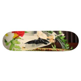 Bride and groom wedding cake topper skateboard deck