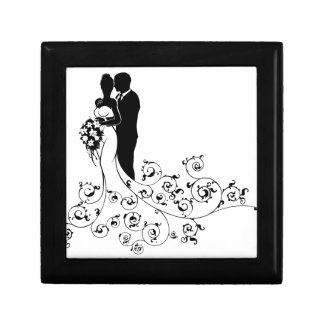 Bride and Groom Wedding Concept Silhouette Gift Box