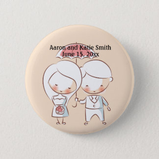 Bride and Groom Wedding Date Button