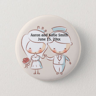 Bride and Groom Wedding Date Button for Guests
