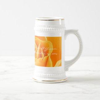 Bride and Groom Wedding Date Stein Orange Roses Coffee Mug
