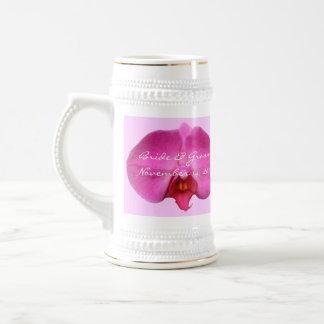 Bride and Groom Wedding Date Stein Pink Orchid Beer Steins