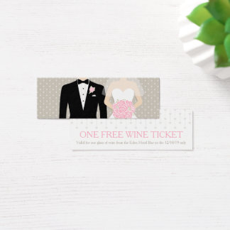 Bride and groom wedding free wine voucher card