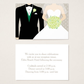 Bride and groom wedding green info enclosure card