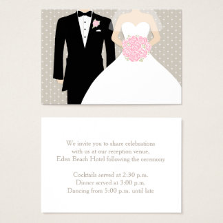 Bride and groom wedding info enclosure card