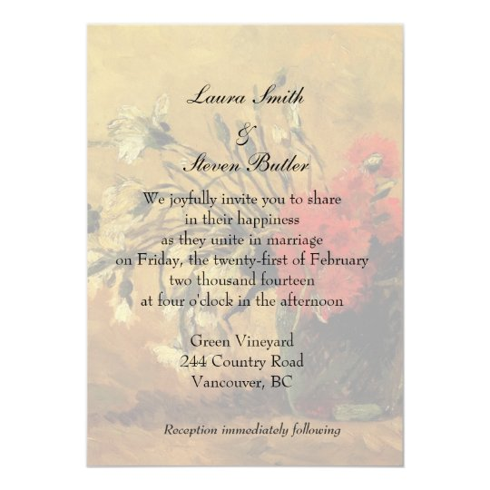 bride and groom wedding invitation. van Gogh Card