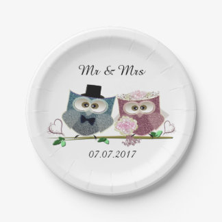 Bride and Groom Wedding Paper Plates 7 Inch Paper Plate