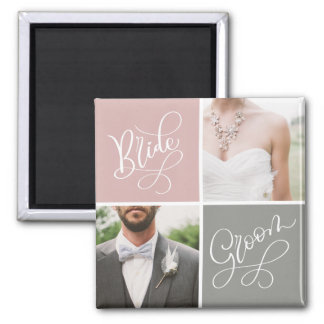 Bride and Groom Wedding Photo Collage Magnet