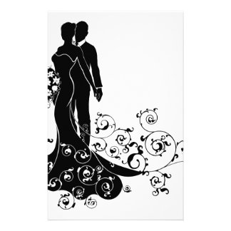 Bride and Groom Wedding Silhouette Customized Stationery