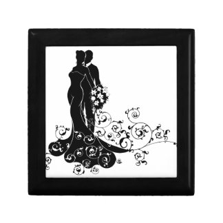Bride and Groom Wedding Silhouette Gift Box
