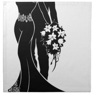 Bride and Groom Wedding Silhouette Napkin