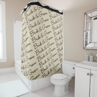 Bride And Groom Wedding Theme Shower Curtain