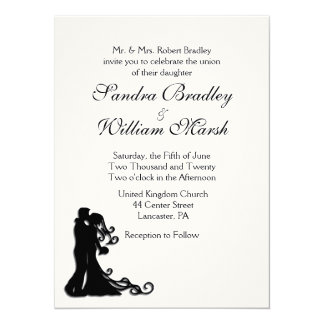Bride and Groom White 14 Cm X 19 Cm Invitation Card