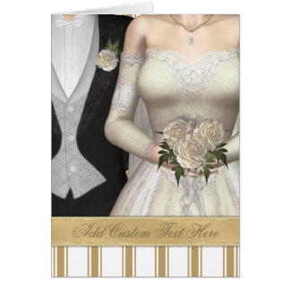 Bride and Groom (white) Wedding Greeting Card