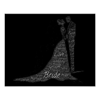 Bride and Groom Word Art Poster