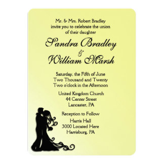 Bride and Groom Yellow 14 Cm X 19 Cm Invitation Card