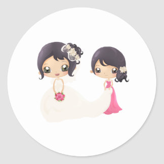 Bride and Maid of Honor Classic Round Sticker