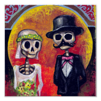 Bride and Mustachioed Groom Poster