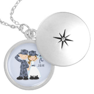 Bride and Soldier in Blue Camouflage Wedding Round Locket Necklace