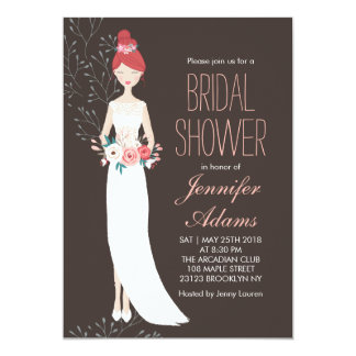 Bride and Wedding Gown Bridal Shower Invitation