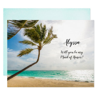 Bride Asking Maid of Honor Beach Wedding Note Card