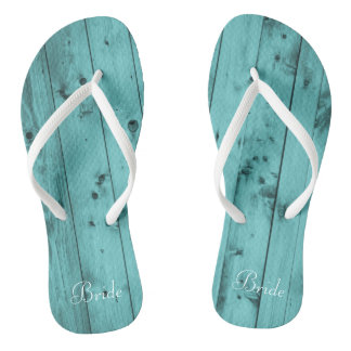 Bride Beach Wedding Teal Rustic Weathered Wood Thongs