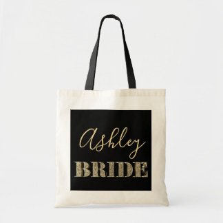 Bride Black and Gold Glitter Typography Chic Name Tote Bag