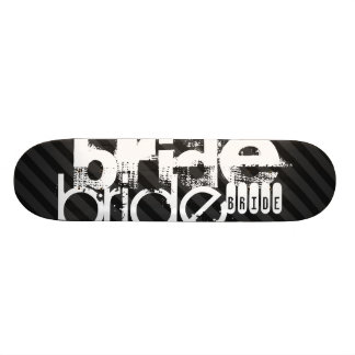 Bride; Black & Dark Gray Stripes Skate Board Decks