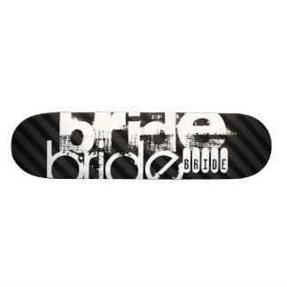 Bride; Black & Dark Gray Stripes Skate Board Decks