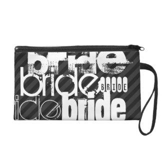 Bride; Black & Dark Gray Stripes Wristlet Purse