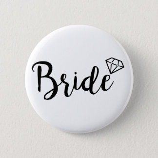 Bride Bling Diamond 6 Cm Round Badge