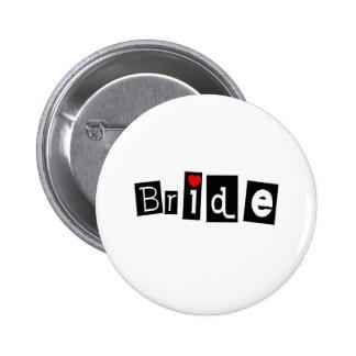 Bride Blk Sq Pinback Buttons