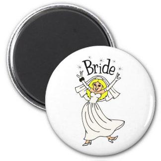 Bride (Blonde Hair) 6 Cm Round Magnet