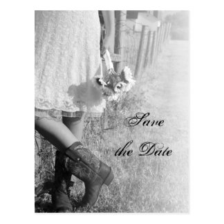 Bride, Boots and Sunflower Wedding Save the Date Postcards