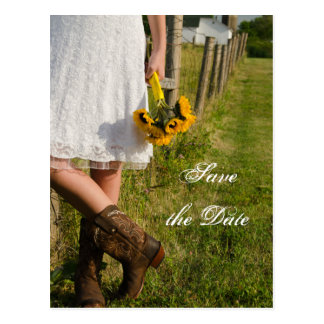 Bride, Boots and Sunflower Wedding Save the Date Post Card