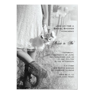 Bride, Boots and Sunflowers Country Bridal Shower 13 Cm X 18 Cm Invitation Card