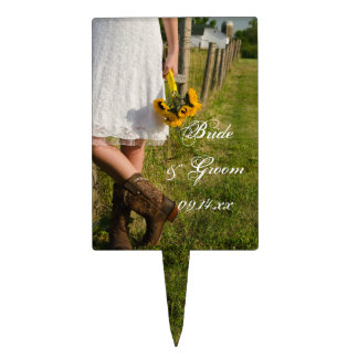 Bride, Boots and Sunflowers Country Wedding Cake Pick