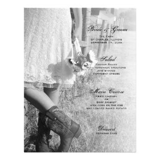 Bride, Boots and Sunflowers Country Wedding Menu 21.5 Cm X 28 Cm Flyer