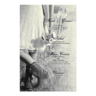 Bride, Boots and Sunflowers Country Wedding Menu Customised Stationery