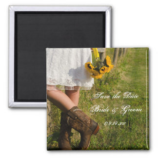 Bride, Boots and Sunflowers Wedding Save the Date Magnets