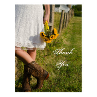 Bride, Boots and Sunflowers Wedding Thank You Postcard
