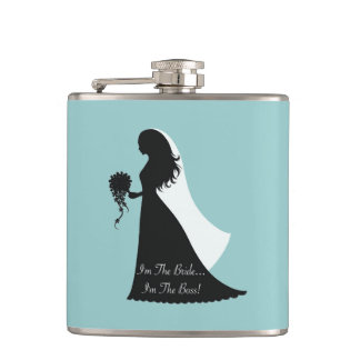 Bride Boss (teal) Hip Flask