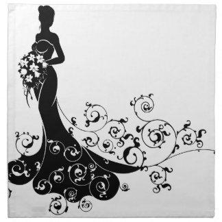 Bride Bouquet Wedding Silhouette Pattern Napkin