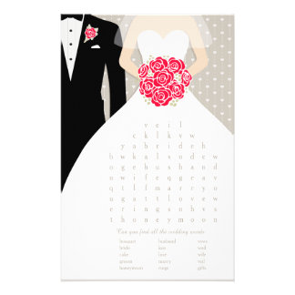 Bride Bridal Shower word search game red dress 14 Cm X 21.5 Cm Flyer